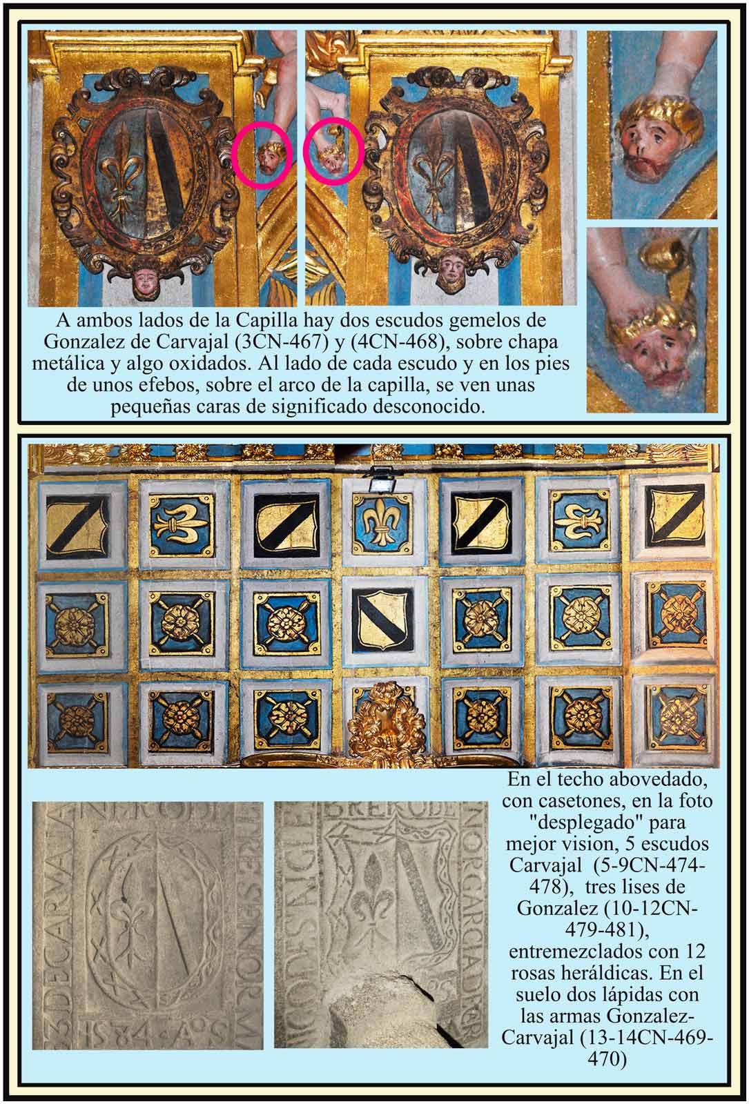 Escudos de Carvajal y Gonzalez y lapidas de la Capilla del Crucifijo