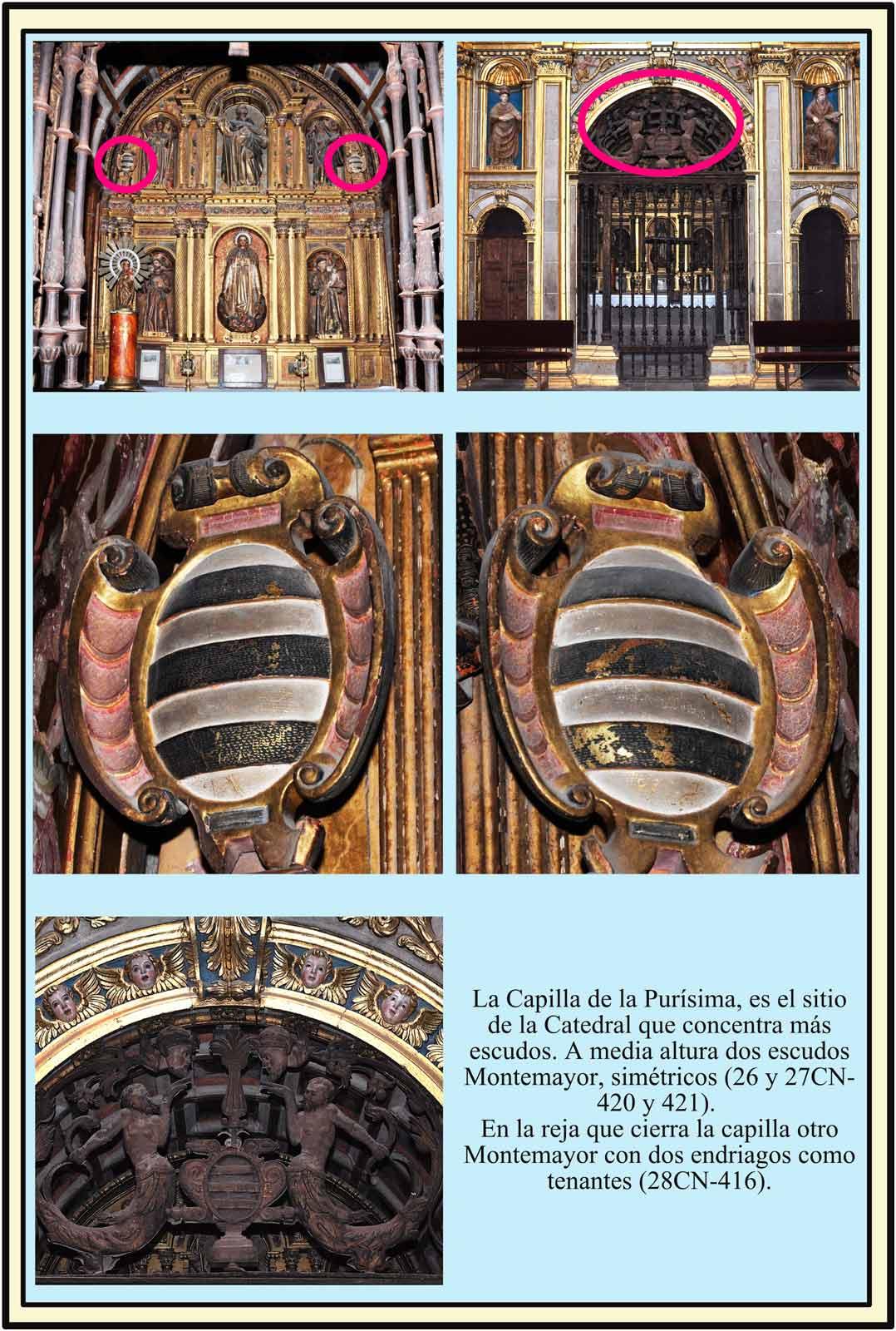 Capilla de la Purisima con escudo metalico de Montemayor en la reja, dos escudos de Montemayor en el altar.