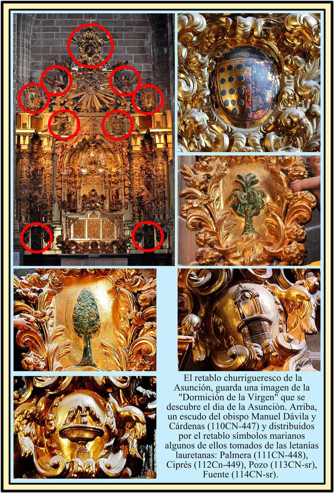 Retablo de la Virgen de la Asunción.  Simbolos Marianos. Catedral Nueva