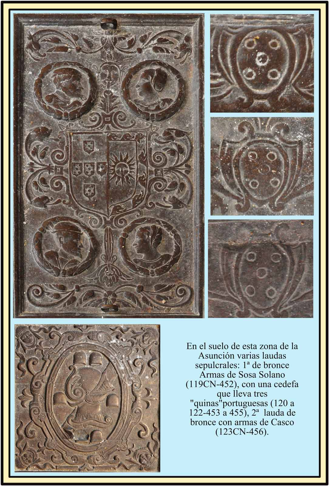 Lapidas sepulcrales. Altar de La Asuncion, escudos Sosa, Solano y Casco