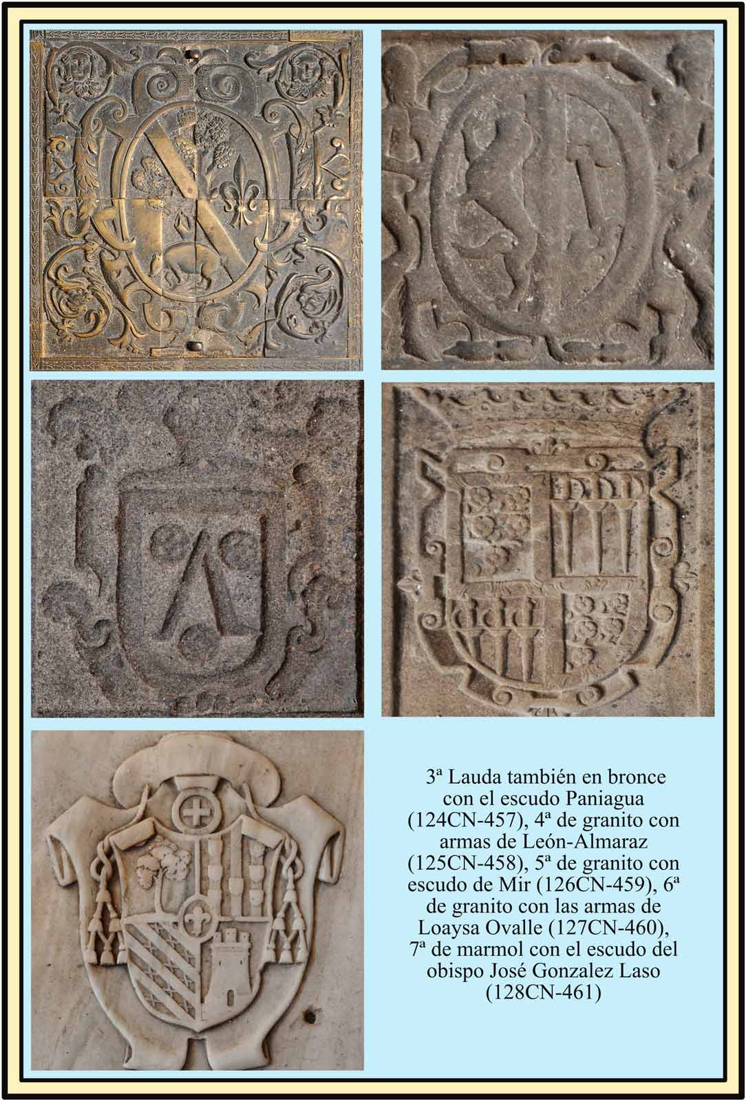 Lapidas sepulcrales con escudos Paniagua Leon Almaraz Mir Laso Ovalle