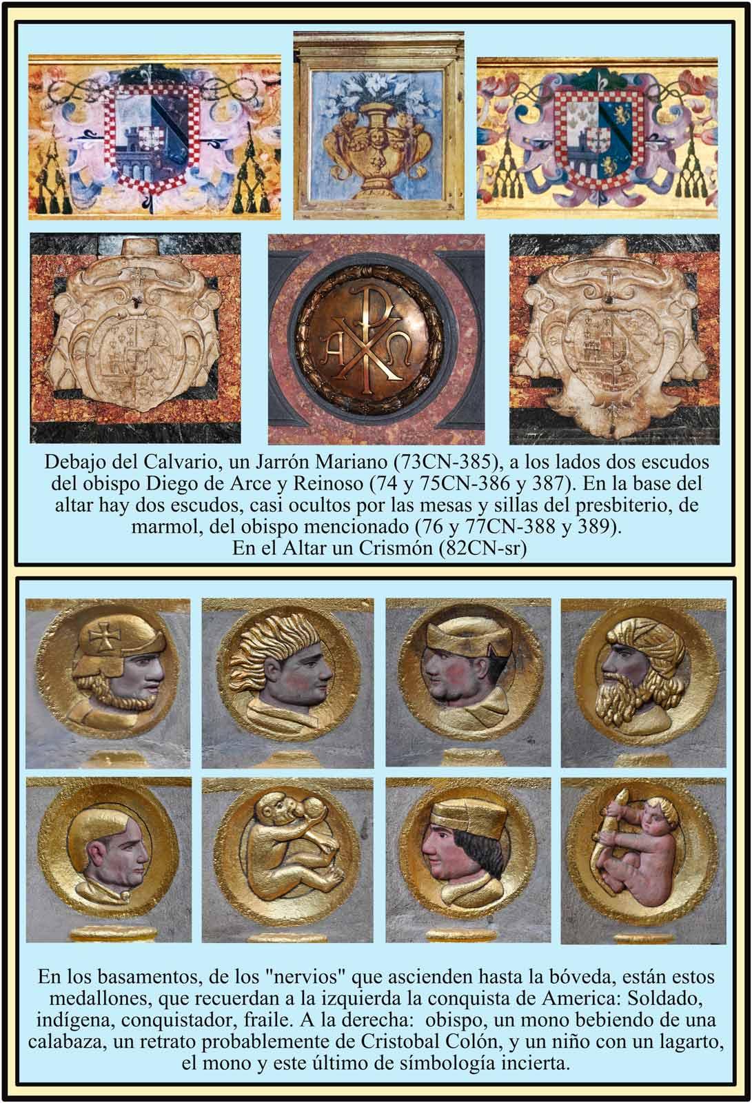 Escudos y simbolos del altar mayor. Catedral Plasencia