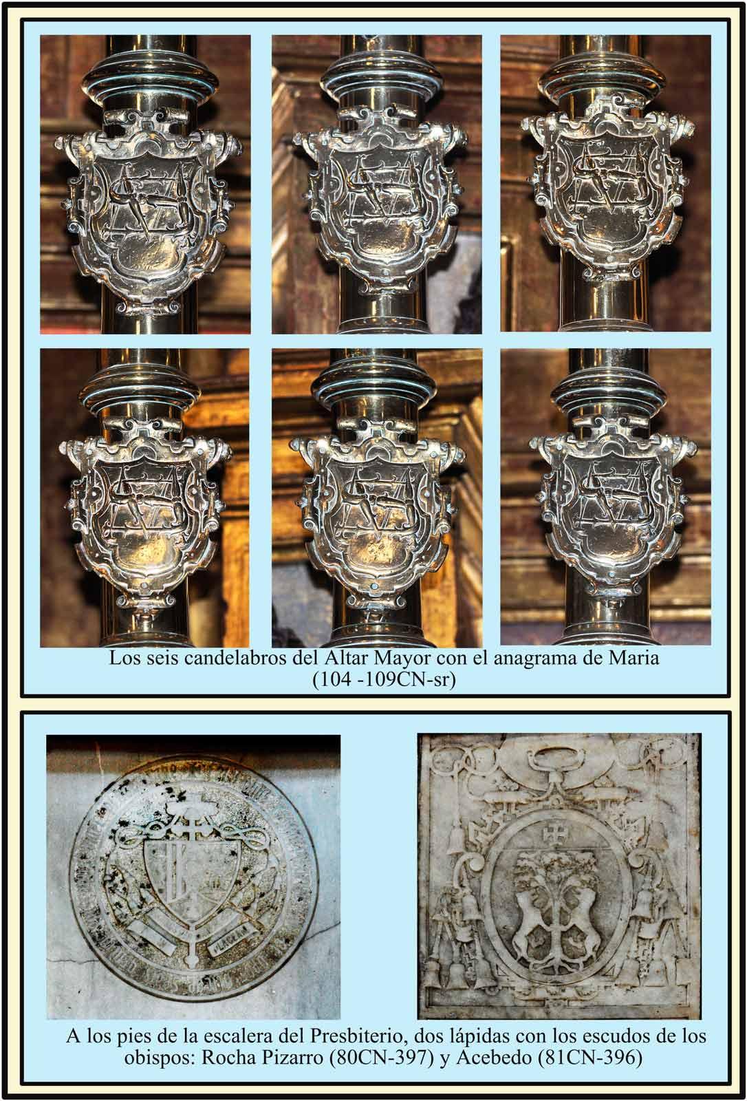 Candelabros y lapidas en el Altar Mayor Escudo Rocha Pizarro y Acebedo