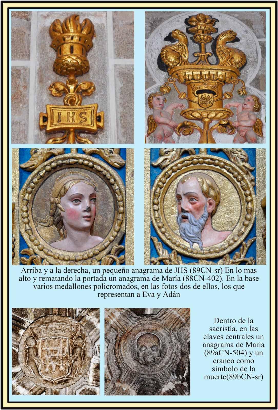 Plasencia escudos Portada Plateresca de la sacristia Adan Eva