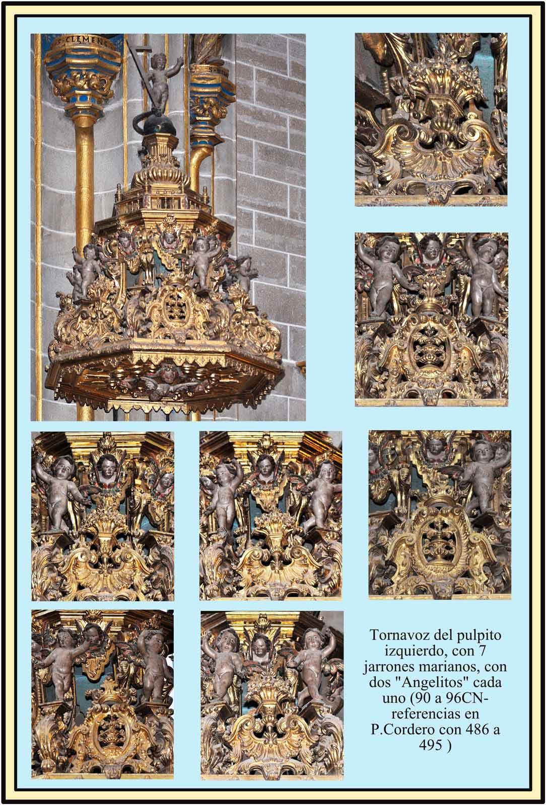Pulpito izquierdo Jarrones Marianos. Catedral Nueva