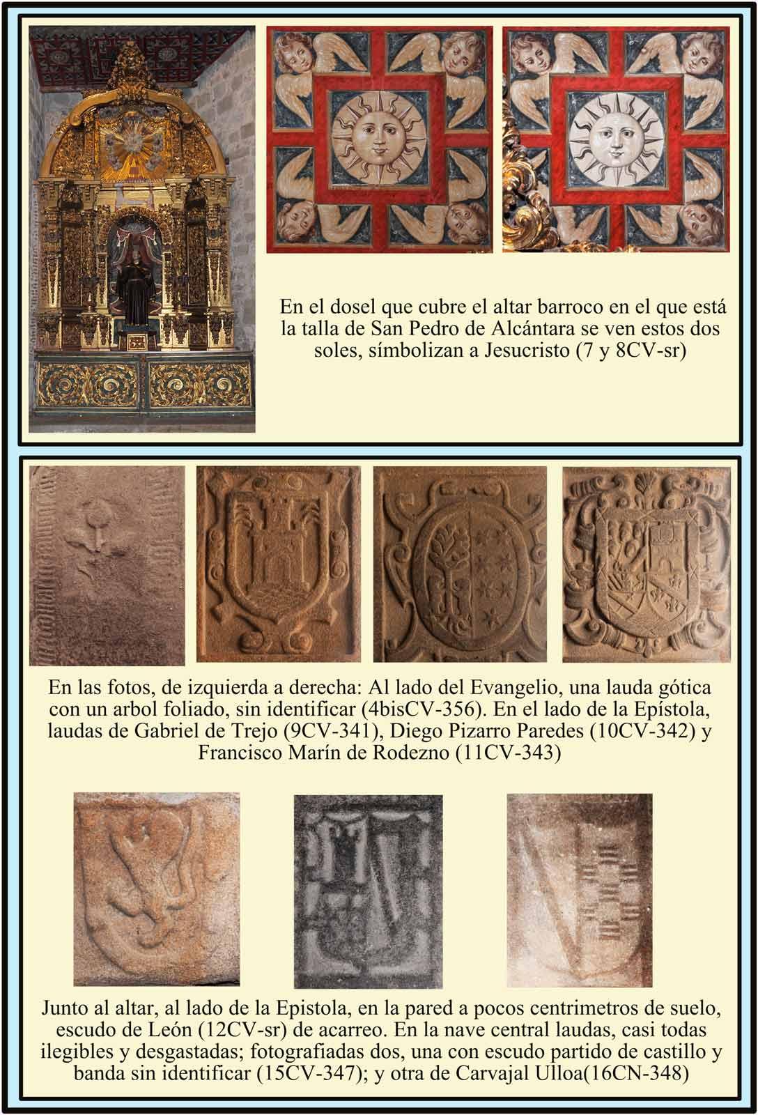 Escudos de Trejo Pizarro Paredes Carvajal Ulloa en lapidas sepulcrales