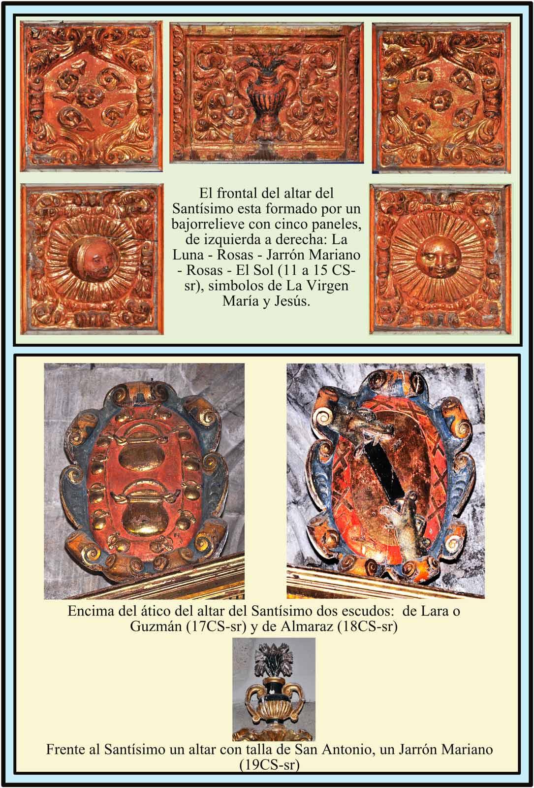 Escudos Lara o Almaraz y Guzman en la capilla del Santisimo