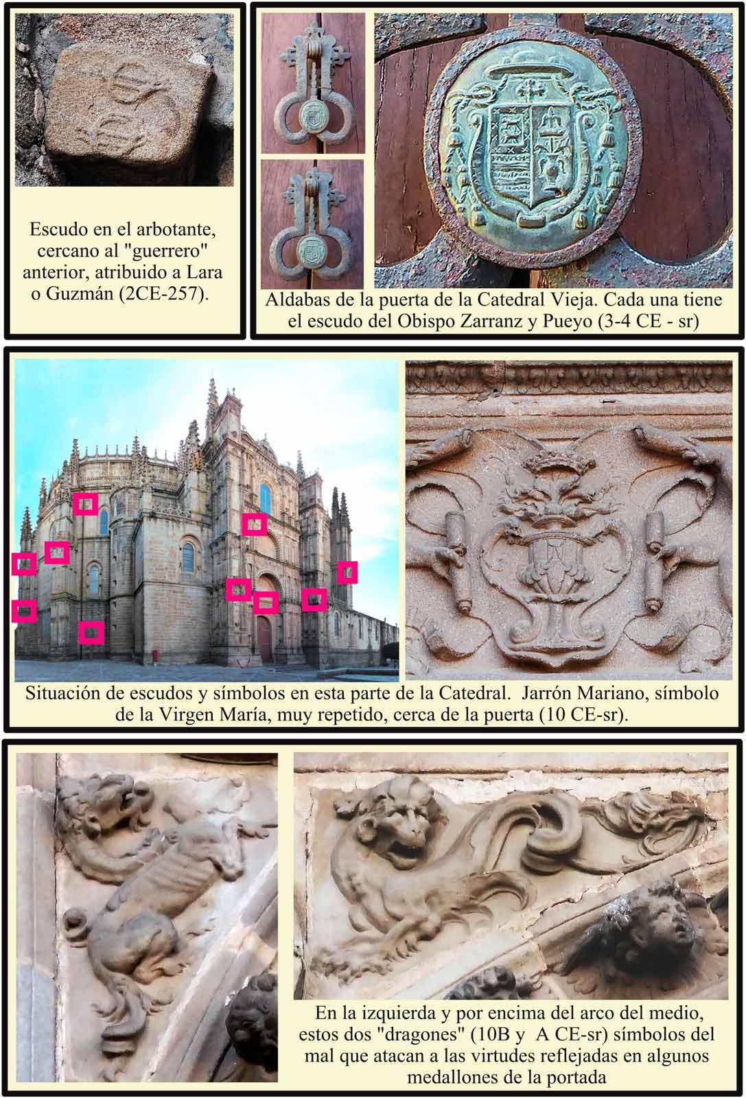 Fachada Norte donde se ven dos dragones Aldabas con escudo Zarranz