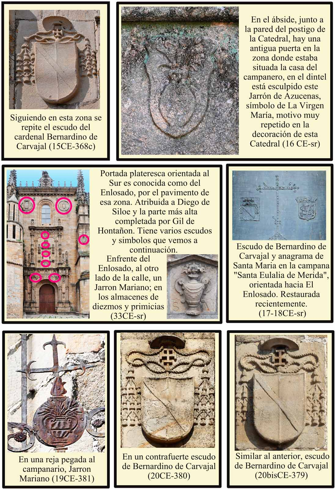 Portada Enlosado Escudos Campana Santa Eulalia de Merida