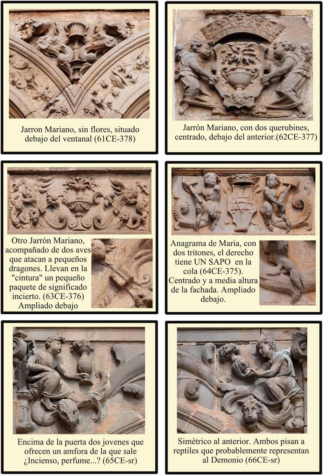 Simbolos marianos en la portada del Enlosado de la Catedral. Sapo como simbolo del pecado