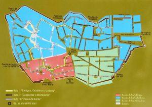 Plano de Plasencia mostrando los barrios de los clerigos, caballero, mercaderes y juderia