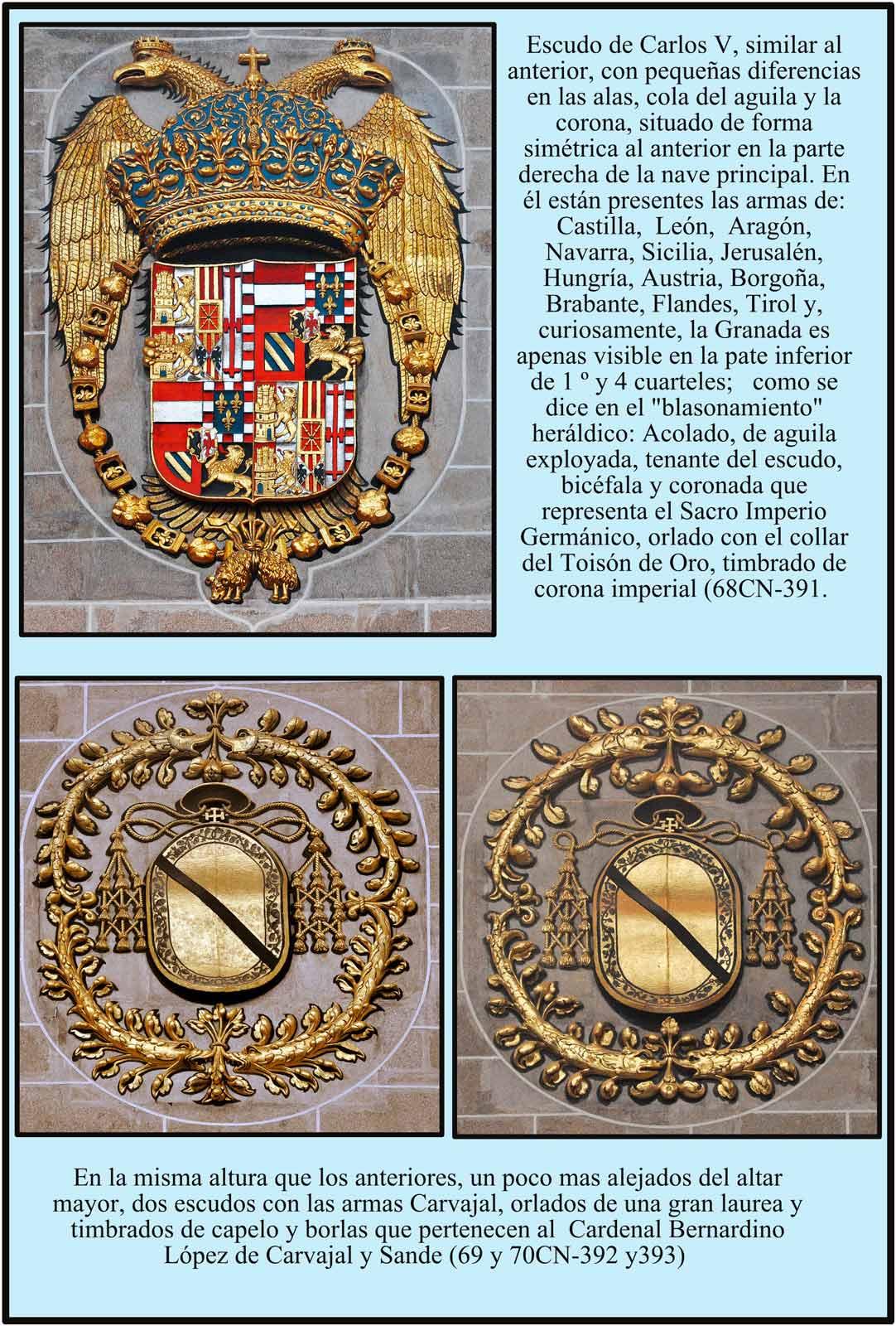 Escudos de Carlos V y del Cardenal Bernardino Lopez de Carvajal y Sande