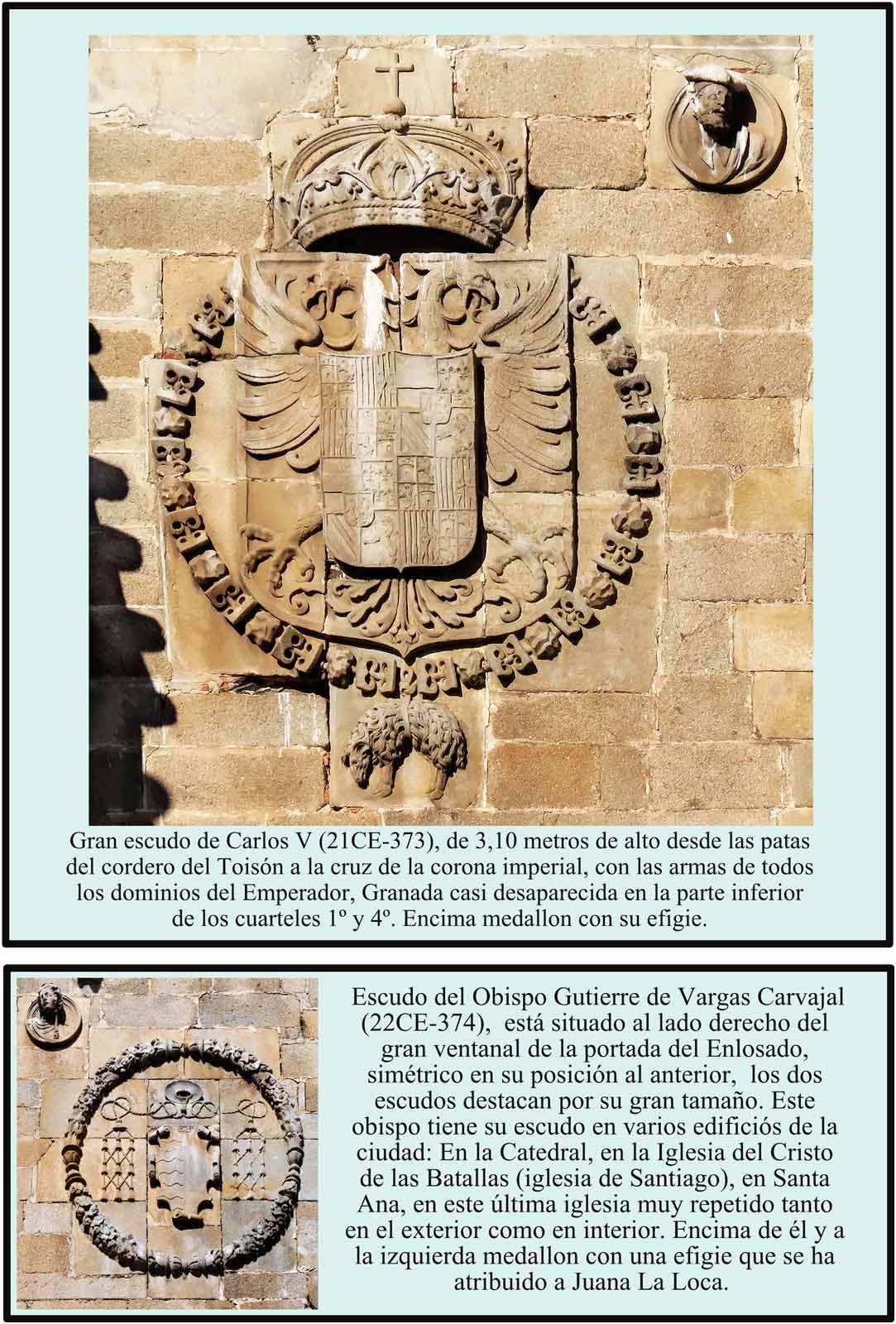 Escudo Carlos V y  Gutierre de Vargas Carvajal