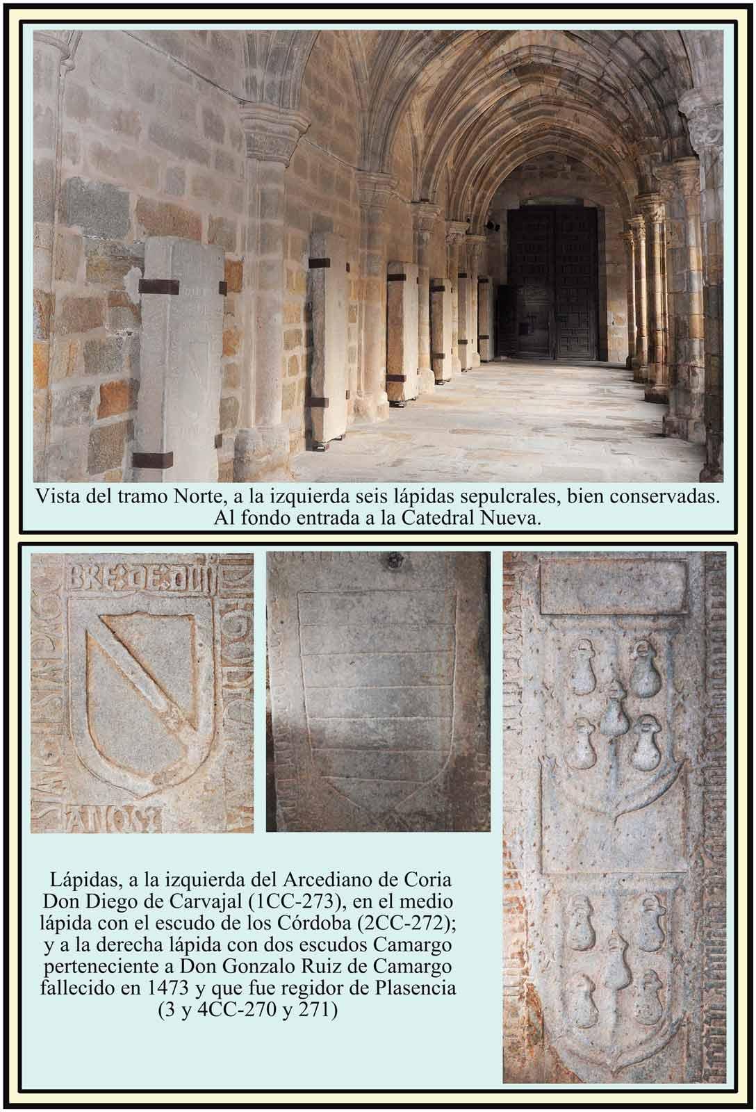Lapidas Carvajal Cordova Camargo en el Claustro de la Catedral Plasencia