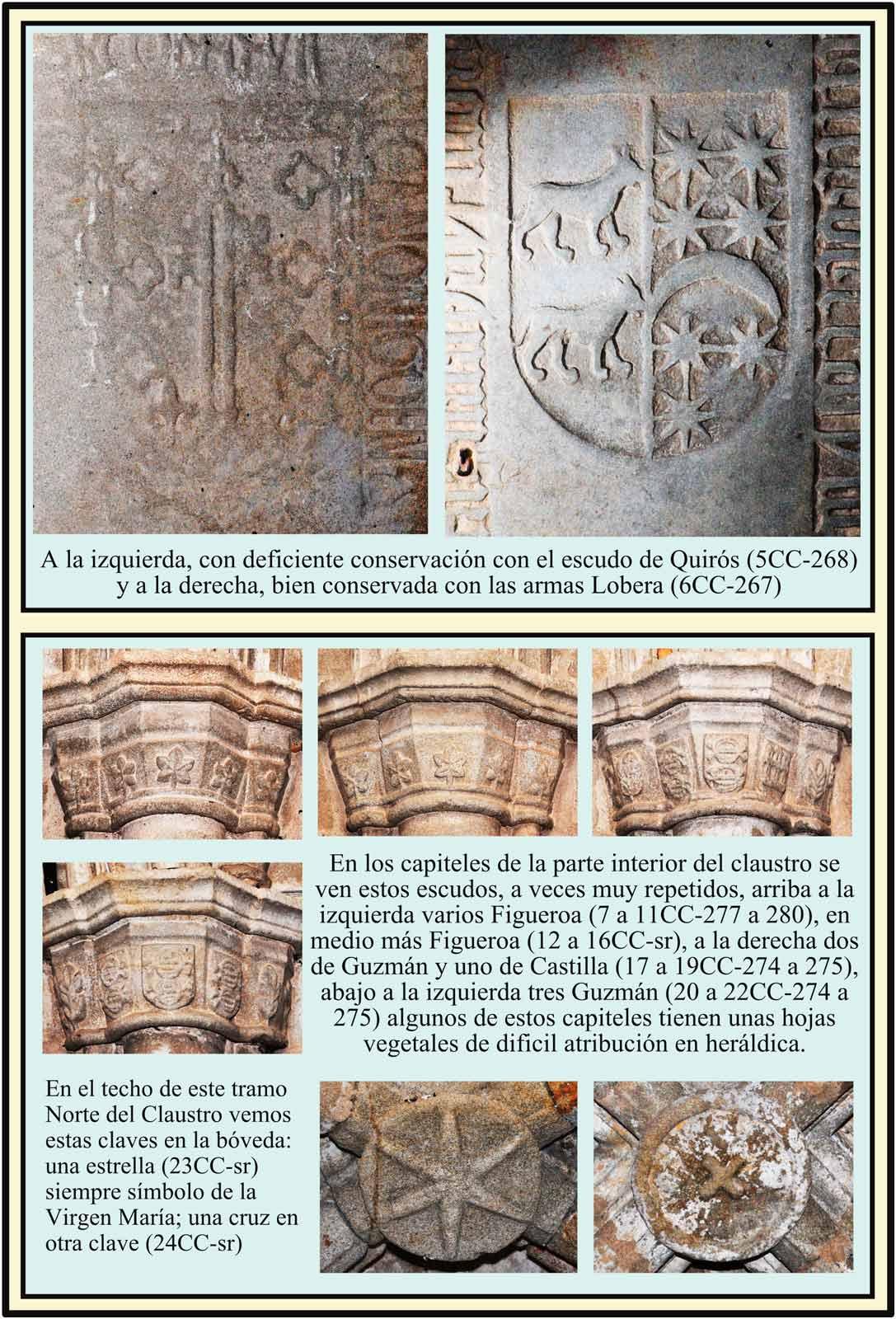 Lapidas Quiros Lobera Figueroa y Guzman. Claustro Catedral de Plasencia