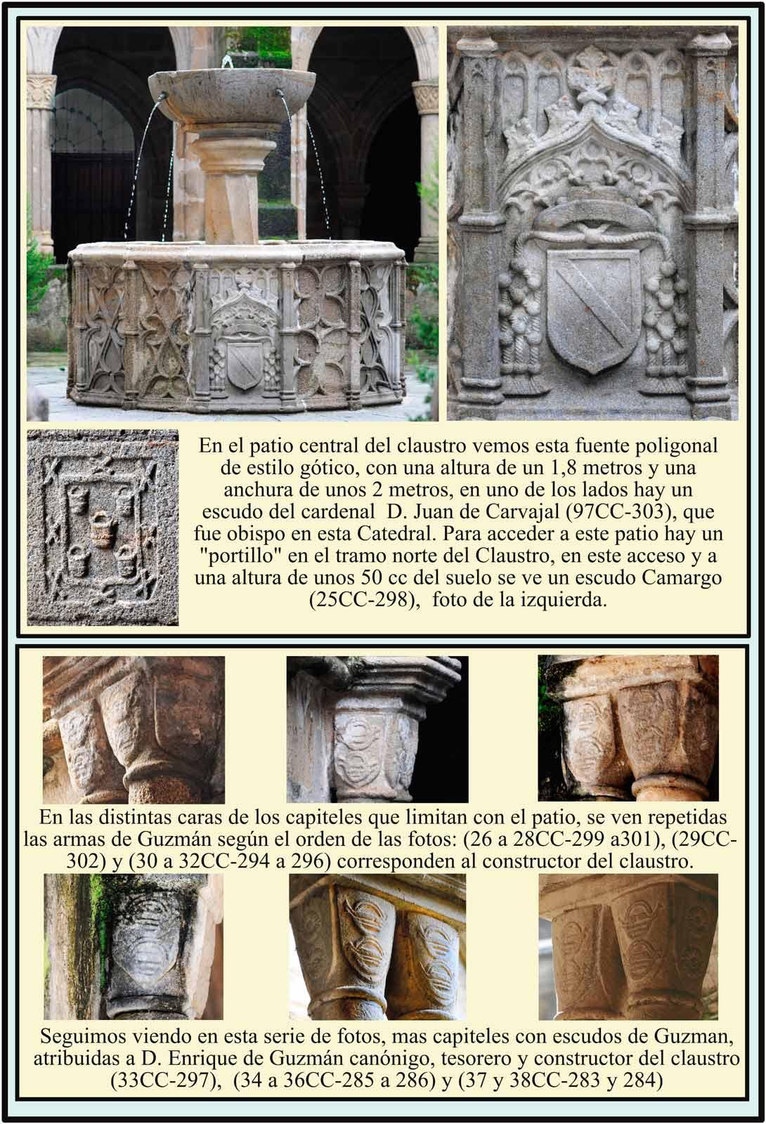 Fuente con escudo Carvajal. Camargo Guzman. Claustro Catedral Plasencia
