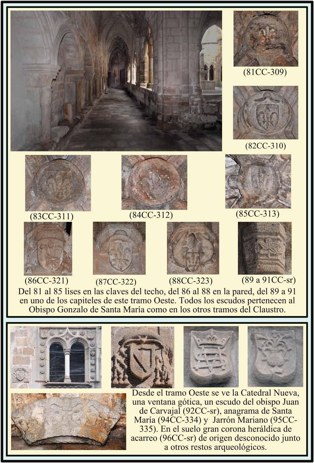 Escudo flor de Lis Carvajal y anagrama de María Clasutro Catedral Plasencia