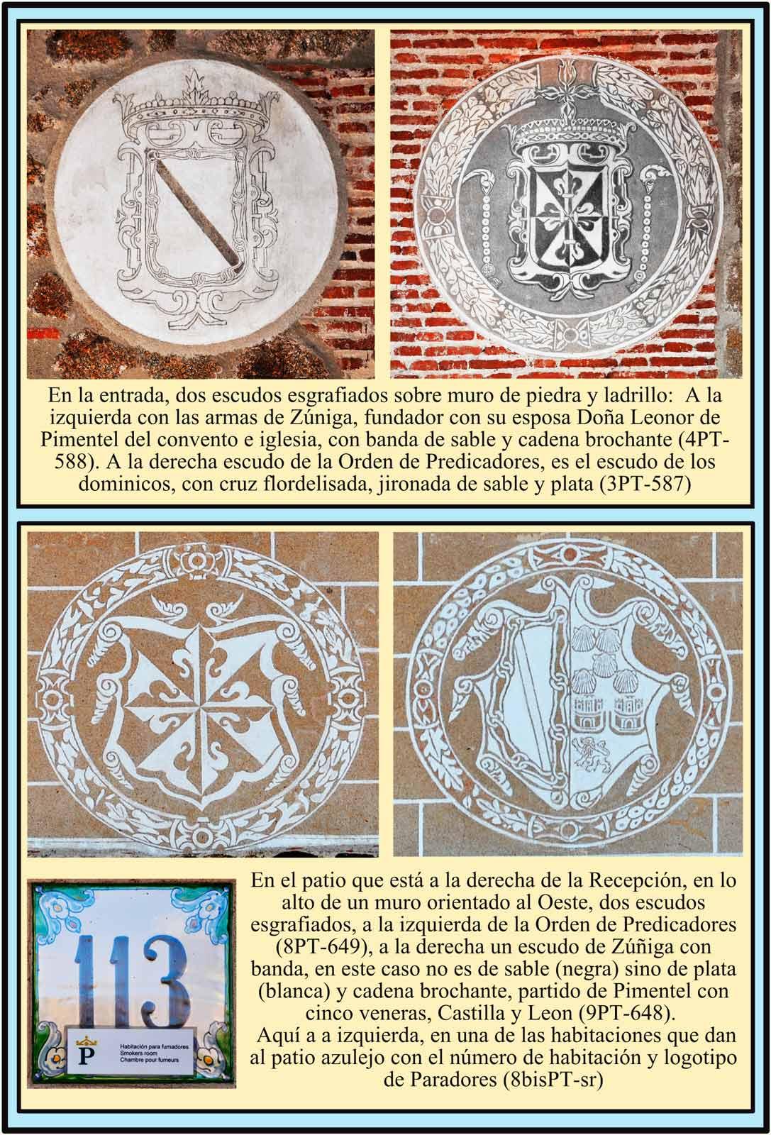Escudos de Predicadores Zuñiga y logotipo de Paradores Plasencia