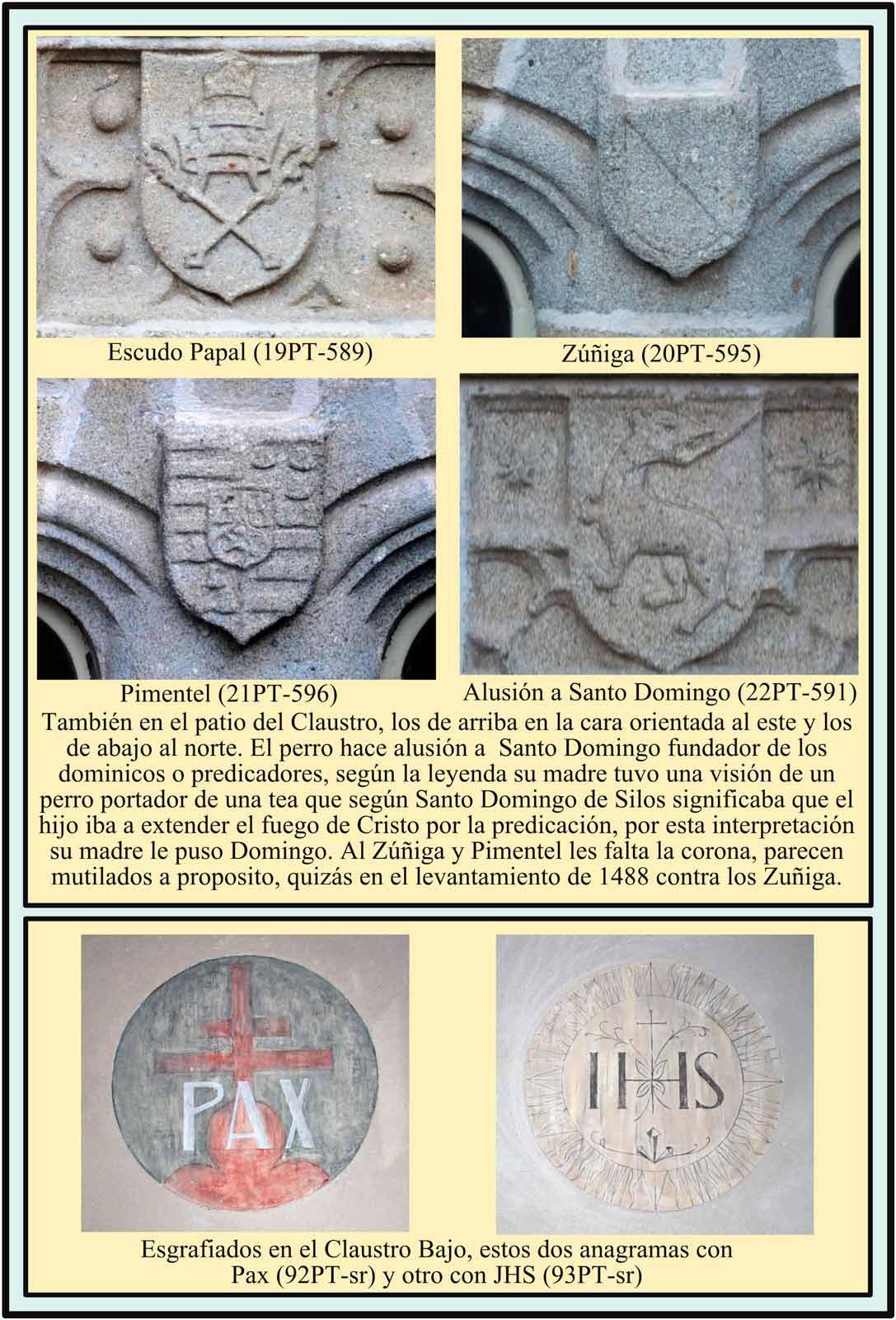 Escudos esgrafiados en el Claustro y en el Patio