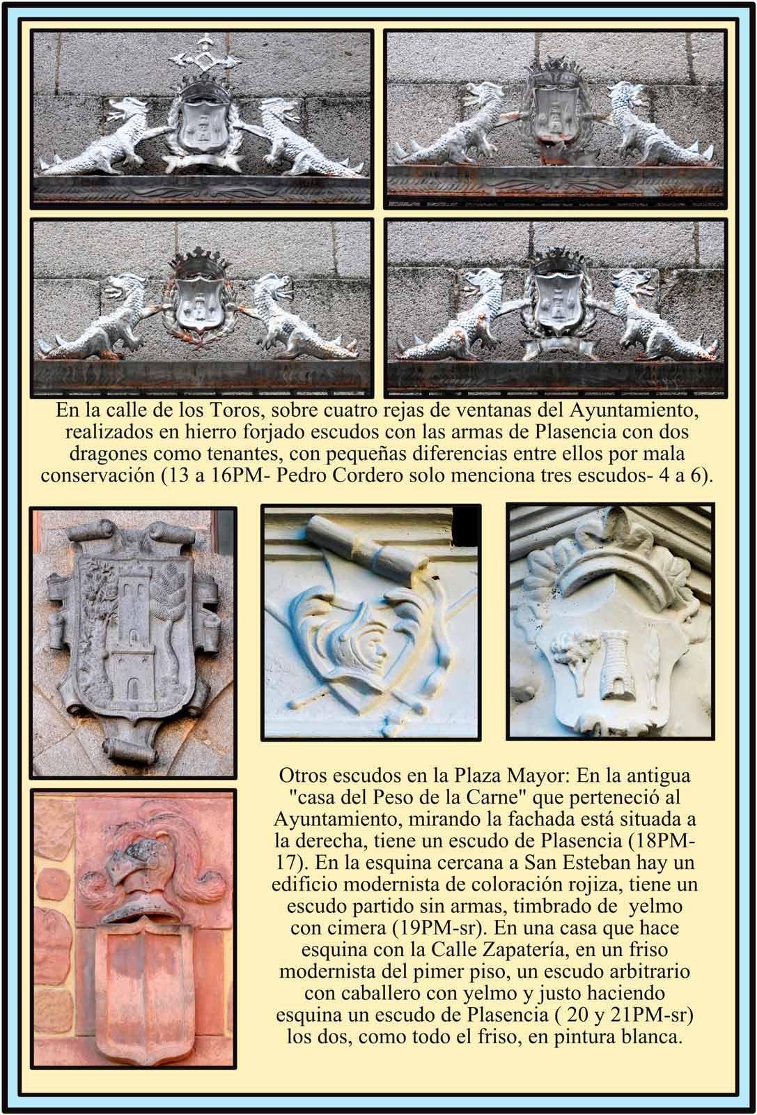 Escudos en las rejas del Ayuntamiento. Escudos en la Plaza Mayor