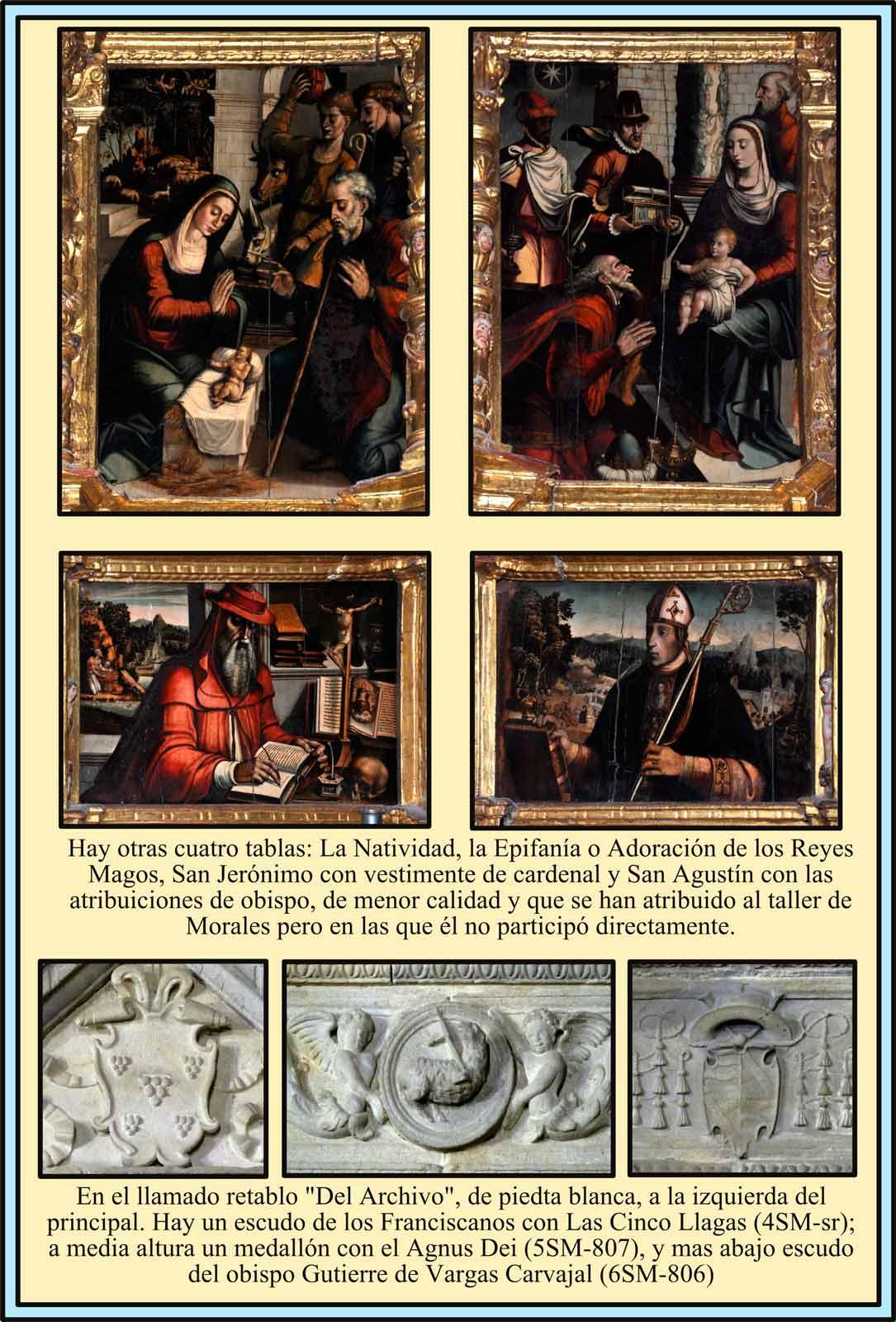 Tablas del taller de Morales en San Martín. Altar del Archivo Escudos