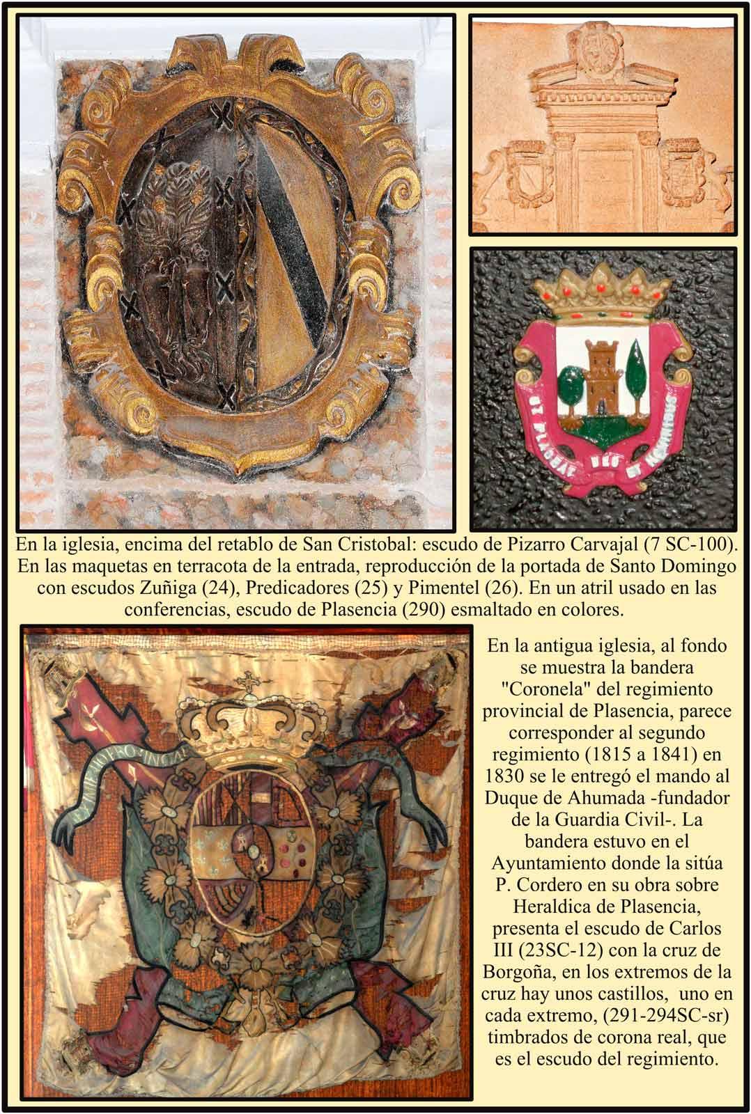 Escudo Pizarro Carvajal Bandera Coronela regimiento Plasencia