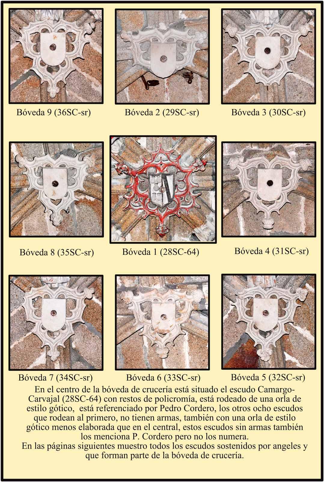 Escudos de la boveda de cruceria Monasterio de las Claras Plasencia