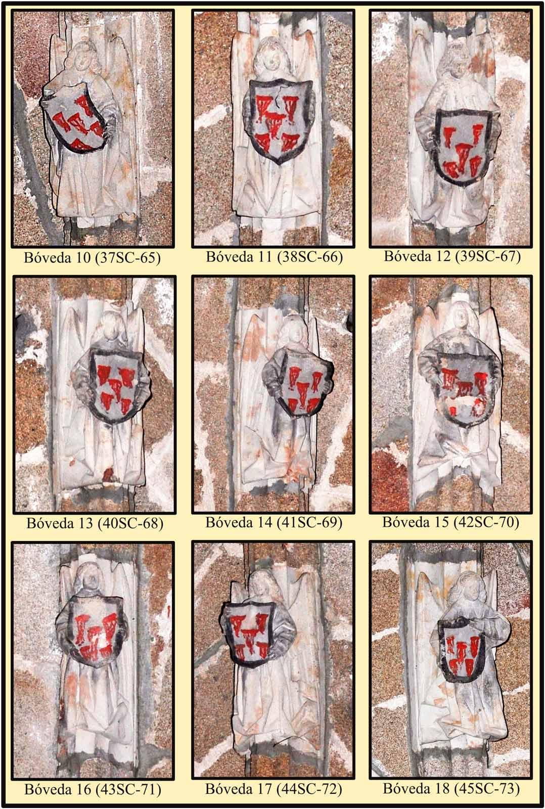 Boveda de cruceria con escudos de franciscanos sostenido por angeles