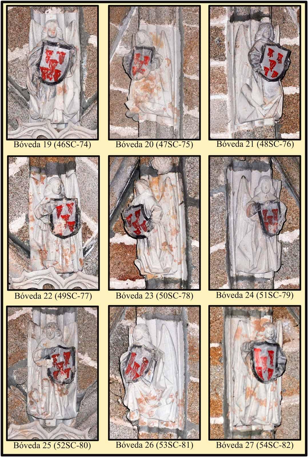 Angeles tenantes de escudos de franciscanos. Las Claras. Plasencia