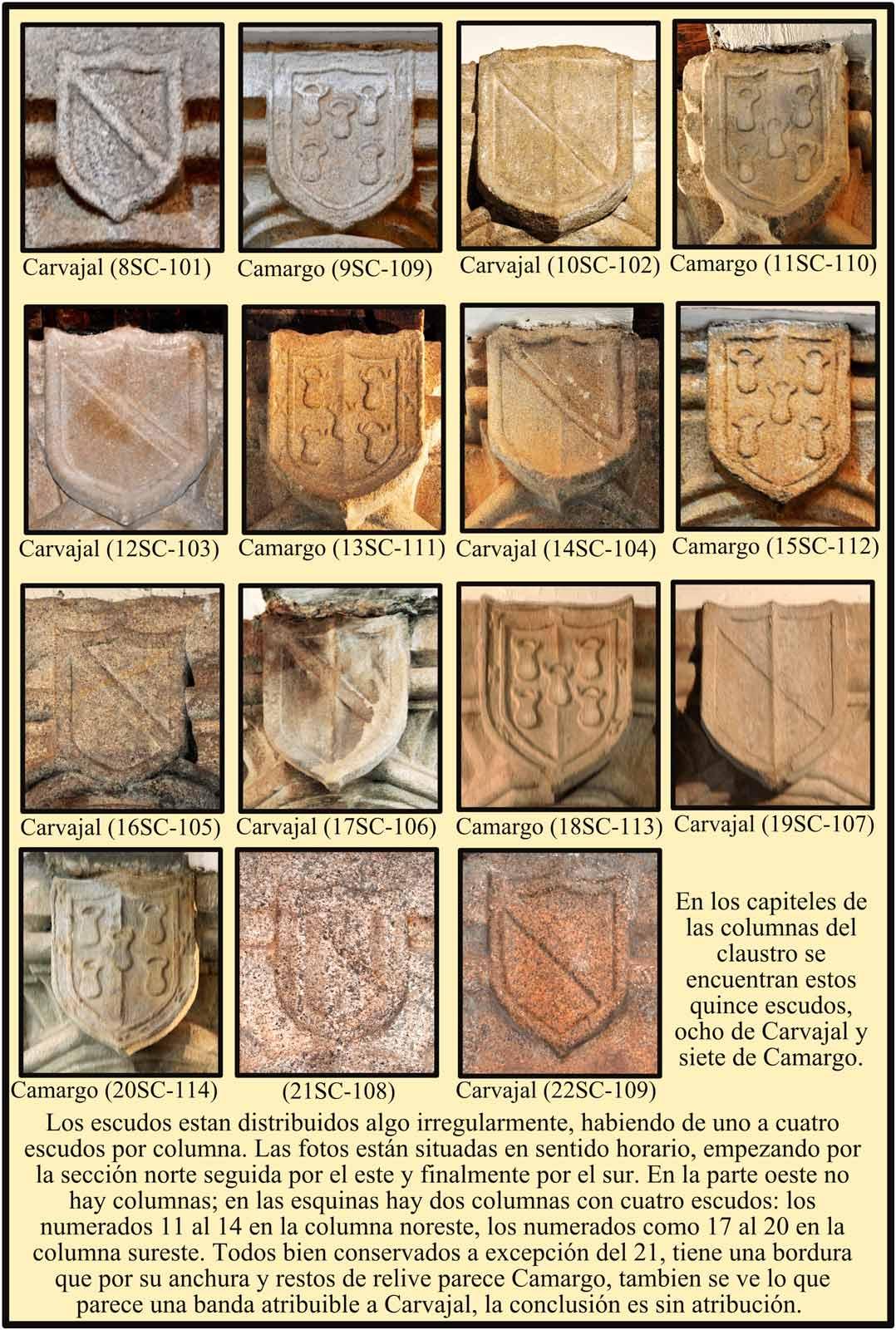 Claustro de las Claras. Escudos en los capiteles de las columnas