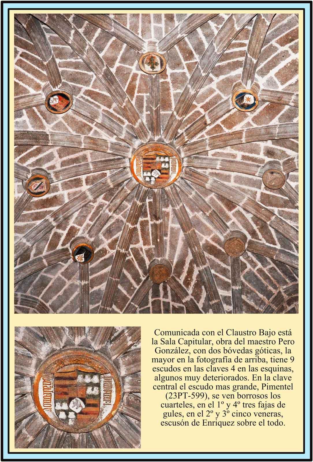 Escudos de la boveda de la sala Capitular parador de turismo de Plasencia