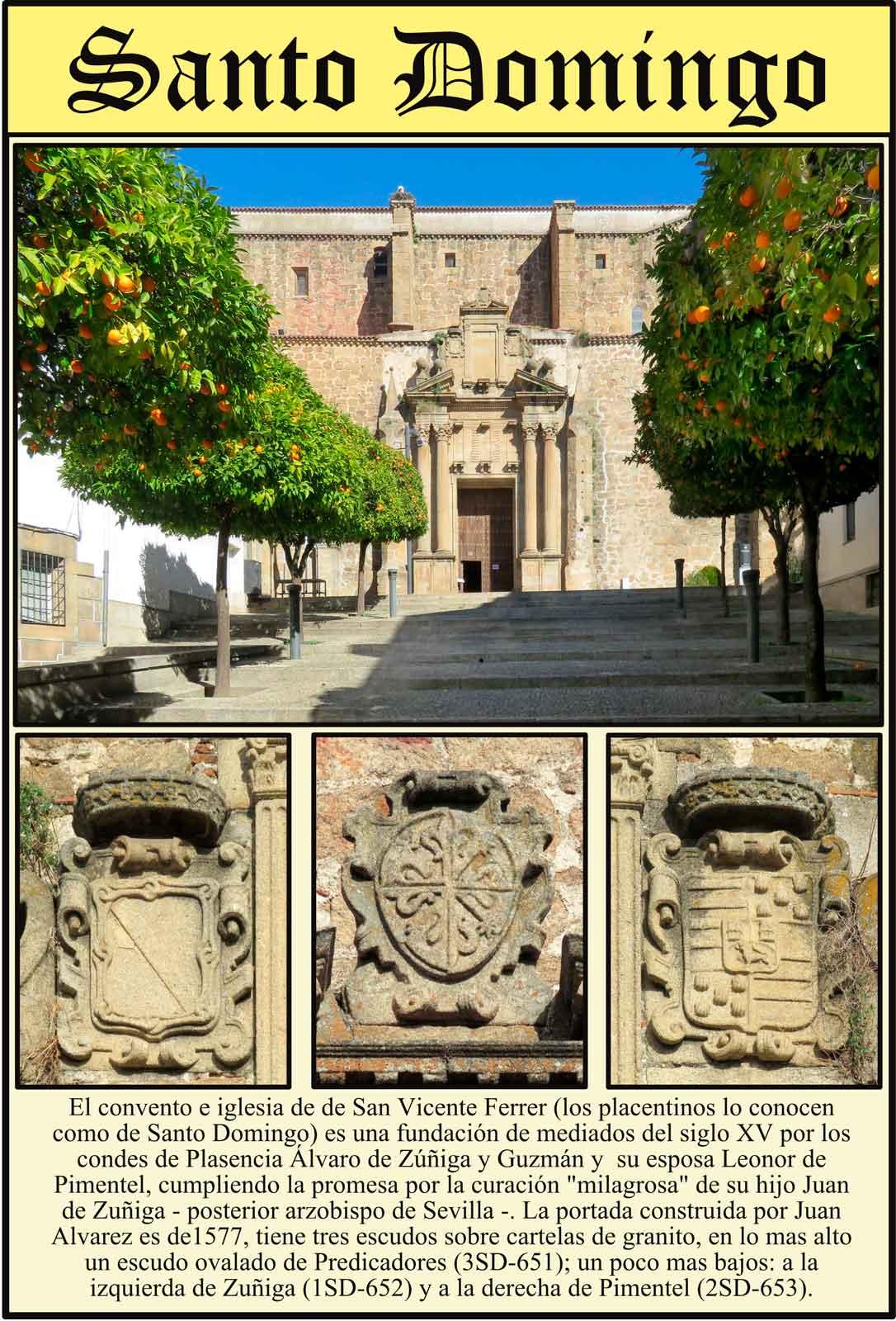Escudos de la fachada de Santo Domingo Zuñiga Predicadores Pimentel