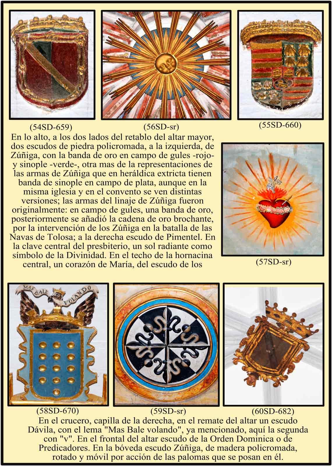Escudos y simbolos en el altar mayor de Santo Domingo
