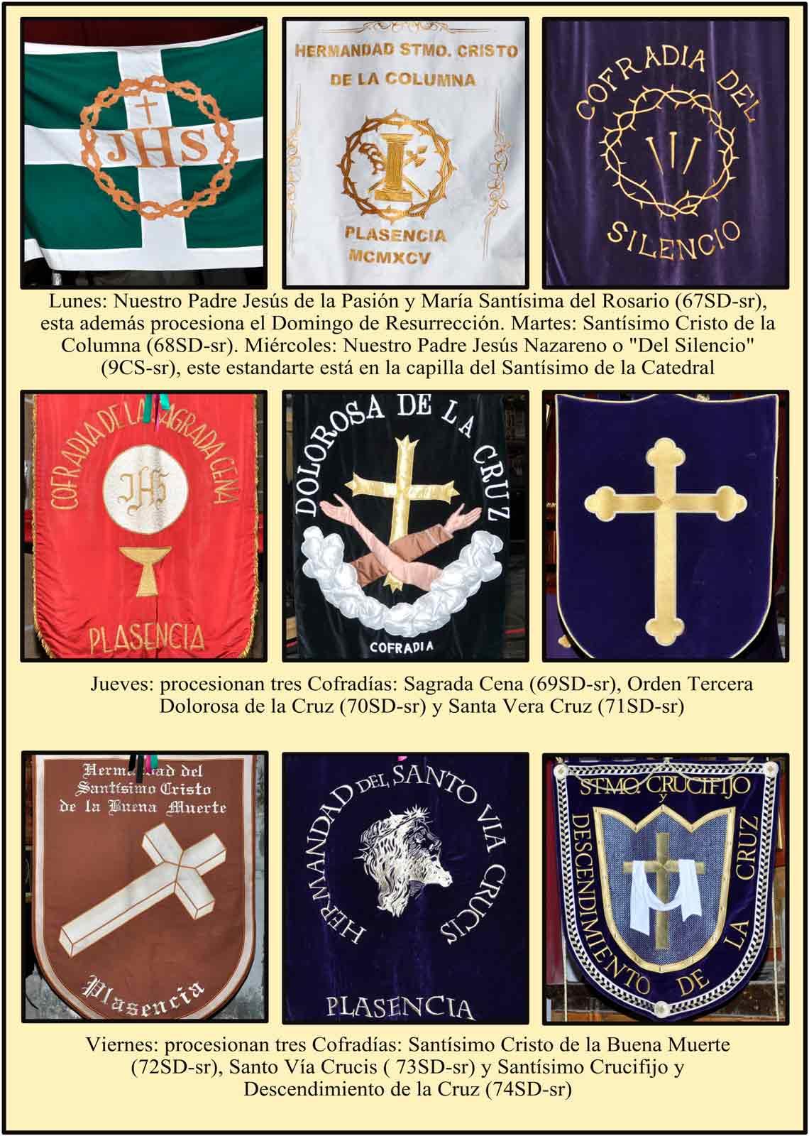Estandartes con los escudos de la Cofradias