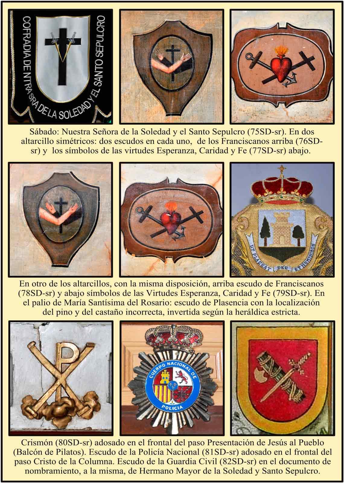 Escudos y simbolos en los pasos de la semana santa de Plasencia