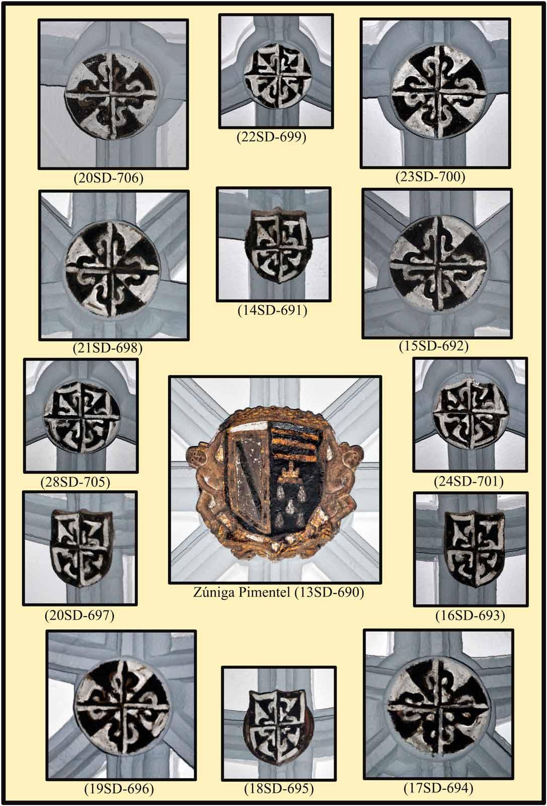 Escudos de la boveda del coro bajo Predicadores Zuñiga Pimentel
