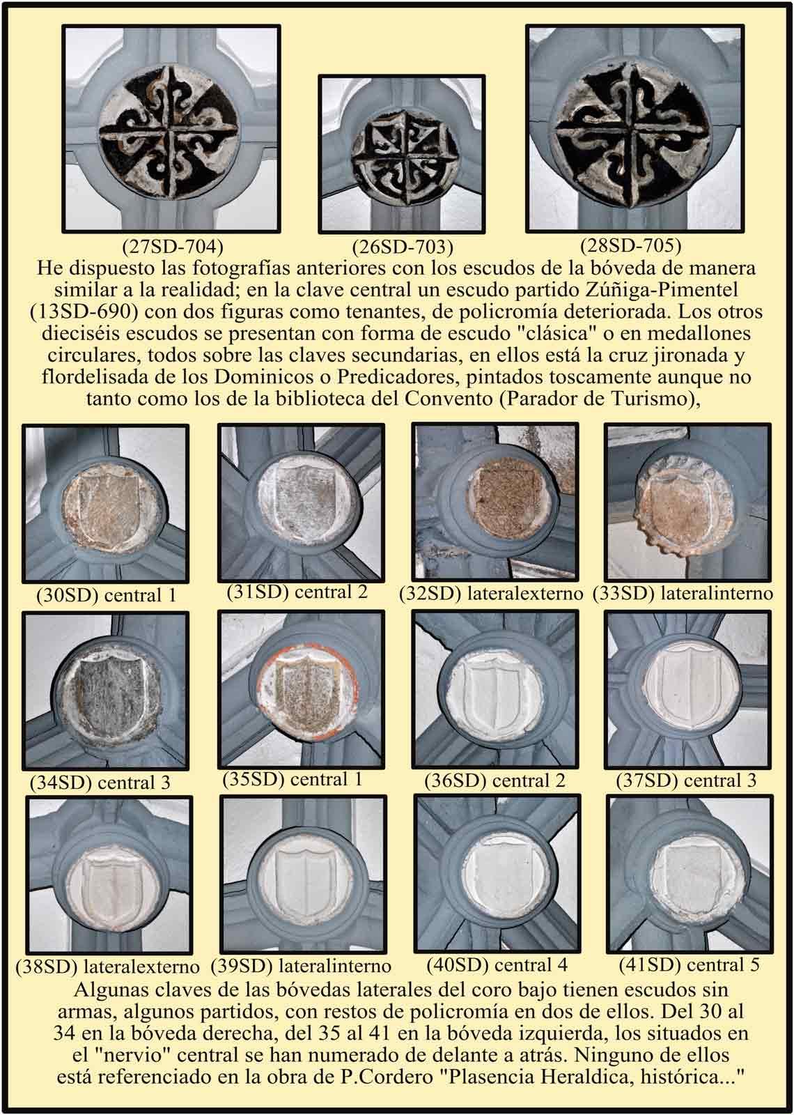 Escudos de las bovedas del coro bajo, bovedas laterales con escudos encalados