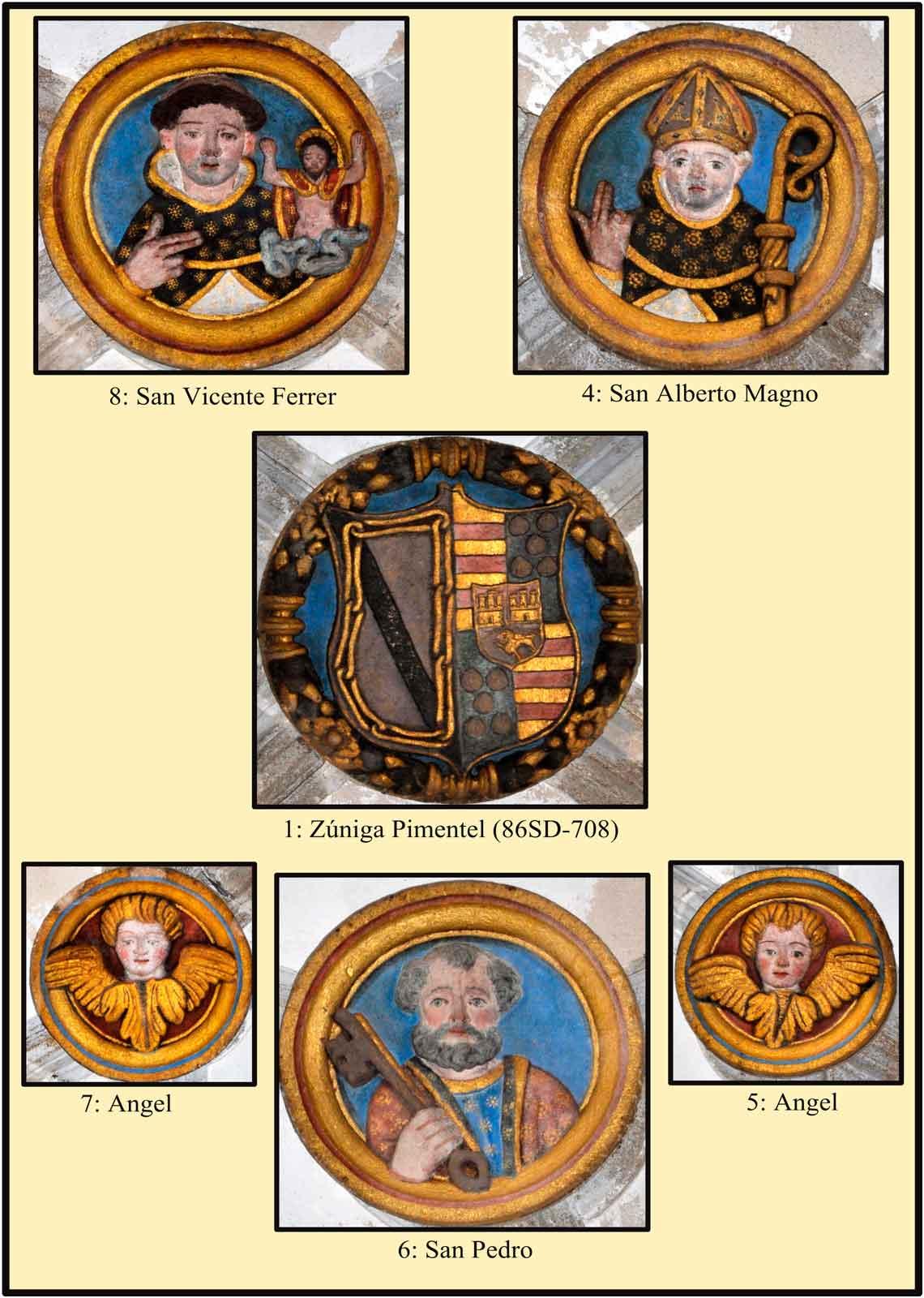 Escudos Policromados de la boveda de la sacristía. Claves con representación de santos dominicos
