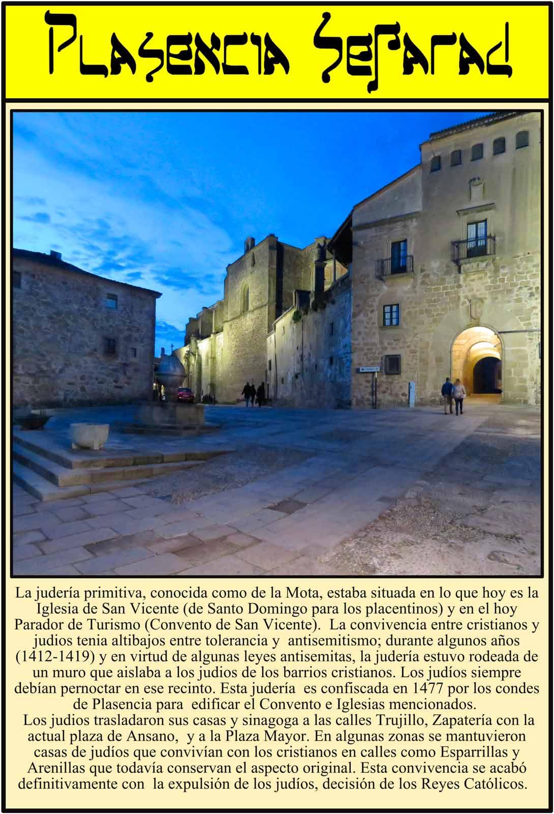 Panoramica de la situación de la primitiva judería de Plasencia. Santo Domingo. Palacio del Marqués de Mirabel.