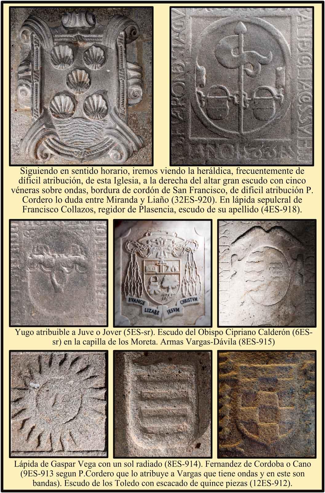 Lápidas con escudos de Quirós de Miranda Fernandez de Cordoba Toledo