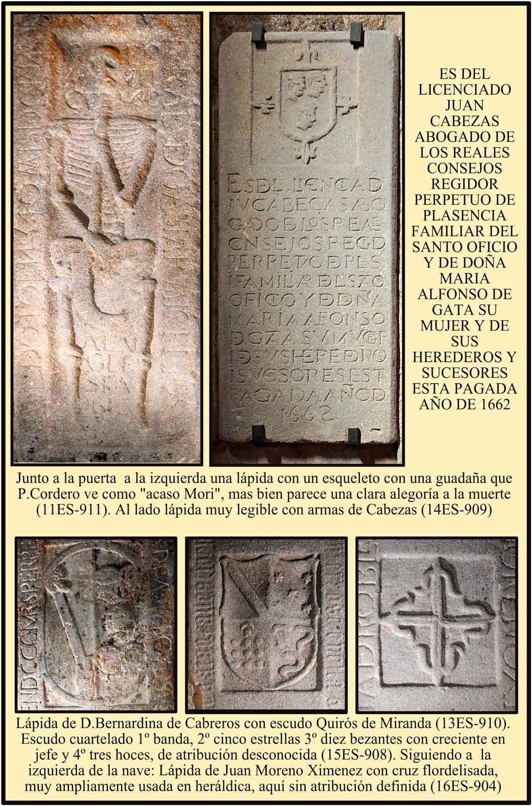 Escudos en las lapidas sepulcrales de la Iglesia de El Salvador