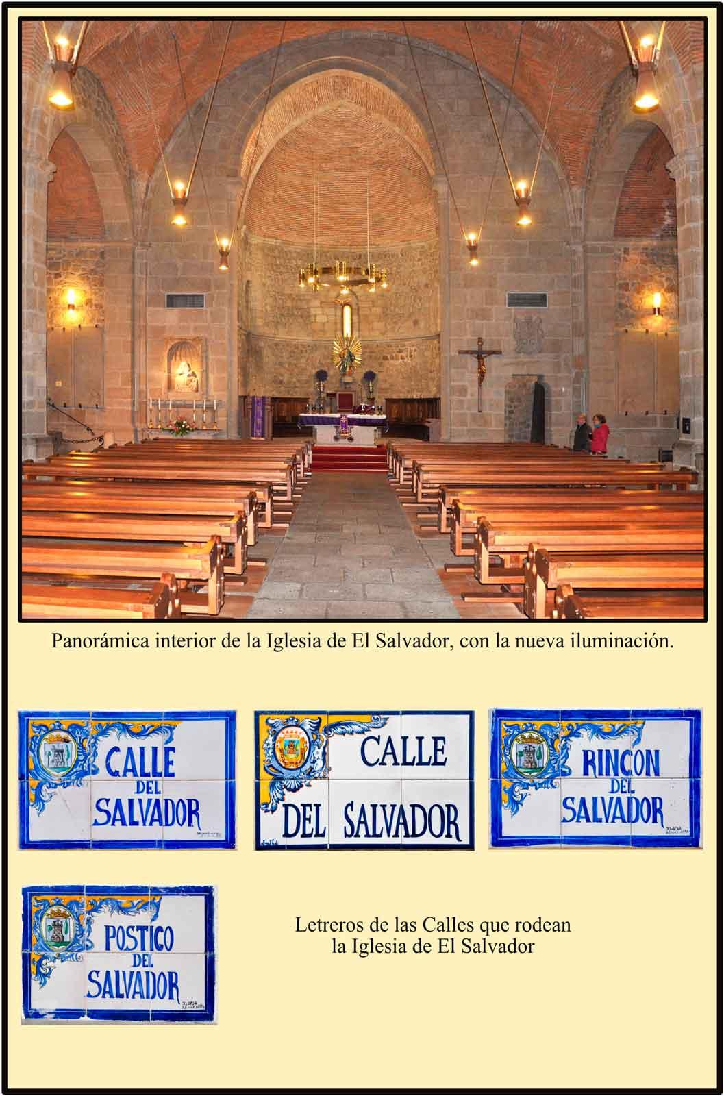 Interior de la Iglesia de El Salvador con el abside y la nave principal iluminados
