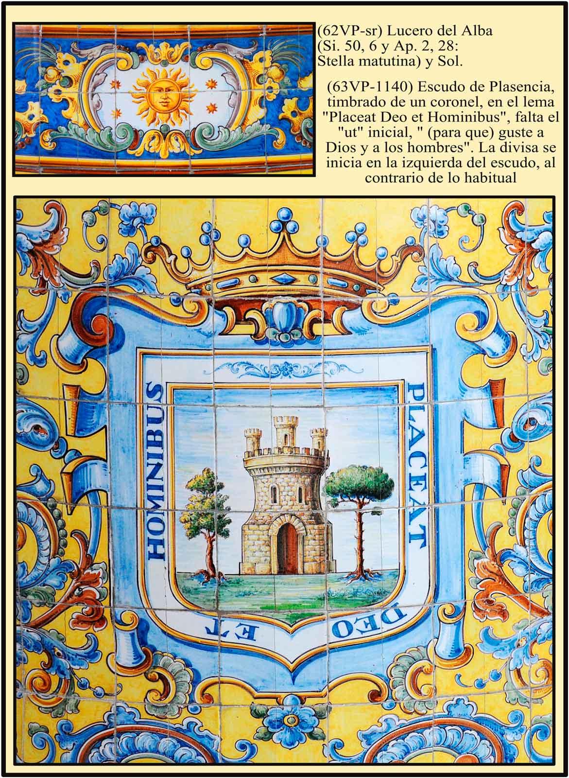 Heraldica en el zocalo del santuario del Puerto. Escudo de Plasencia