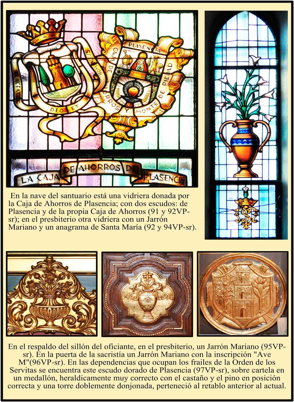 Vidriera con la heraldica de la Caja de Ahorros de Plasencia. Otros simbolos marianos