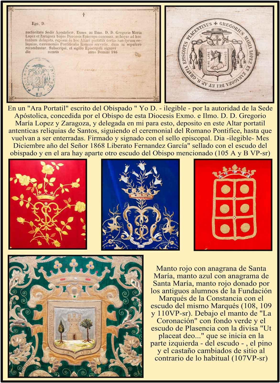 Camarin de la Virgen del Puerto: Escudos del Obispo Lopez y Zaragoza, marques de la Constancia, anagramas de María