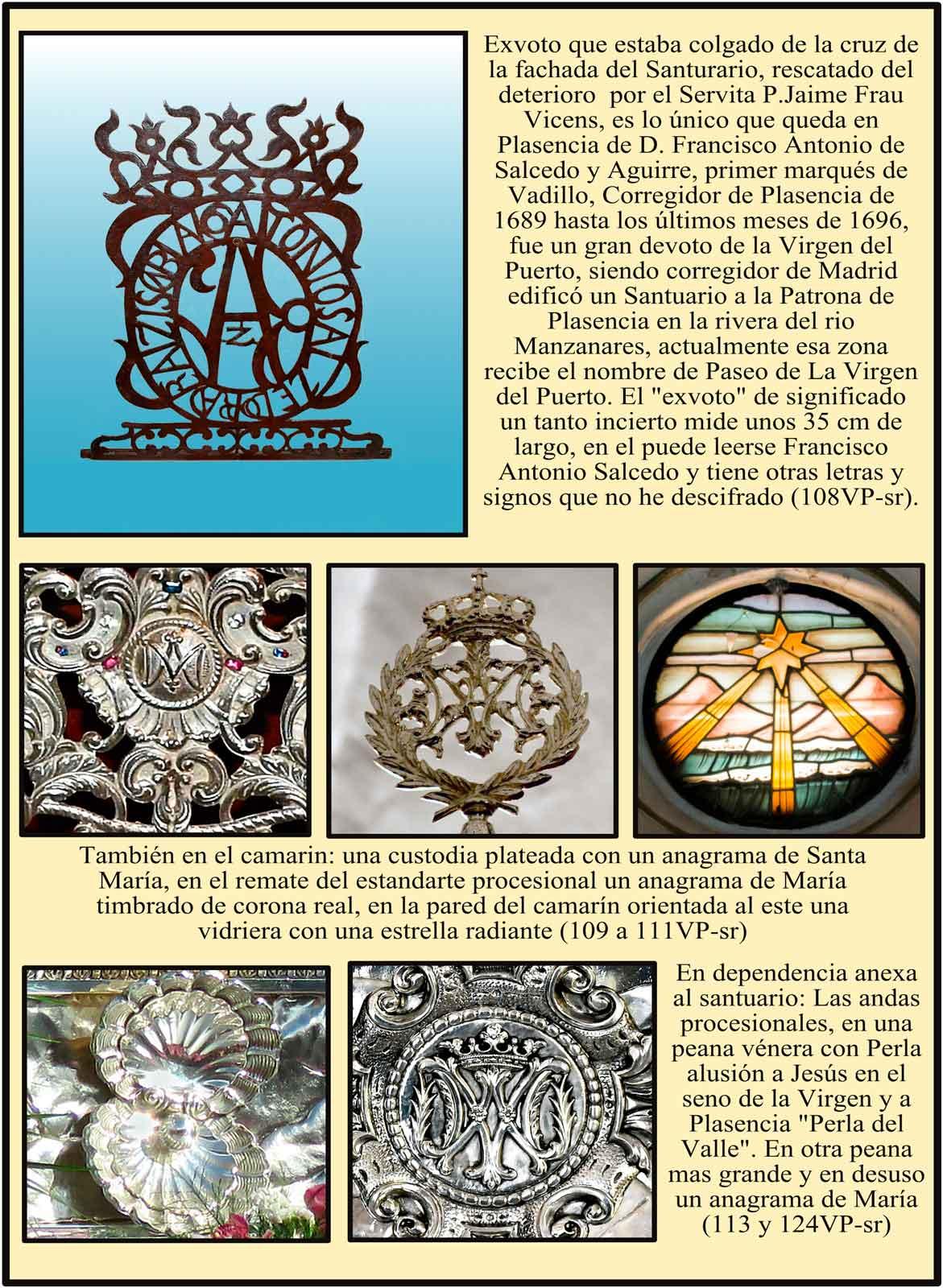 Ofrenda del Marqués de Vadillo a la Virgen del Puerto. Simbolos marianos en el camarin