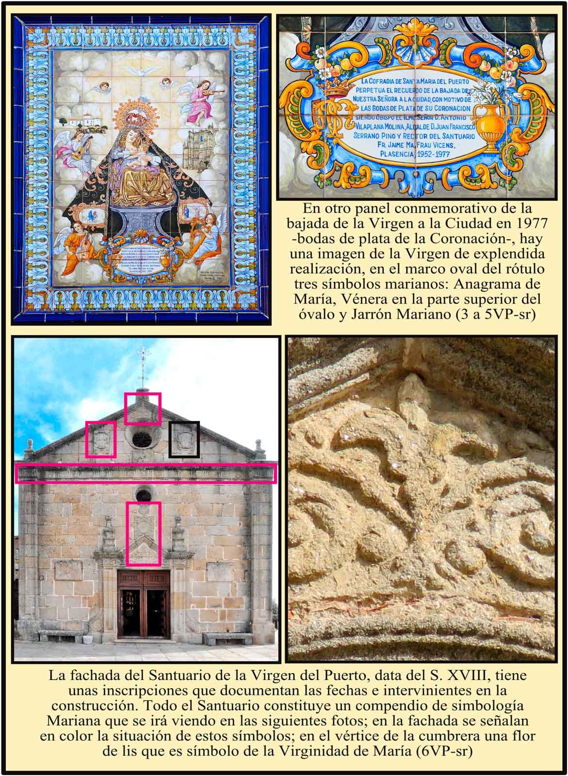 Ermita de la Virgen del Puerto. Situacion de simbolos marianos en la fachada