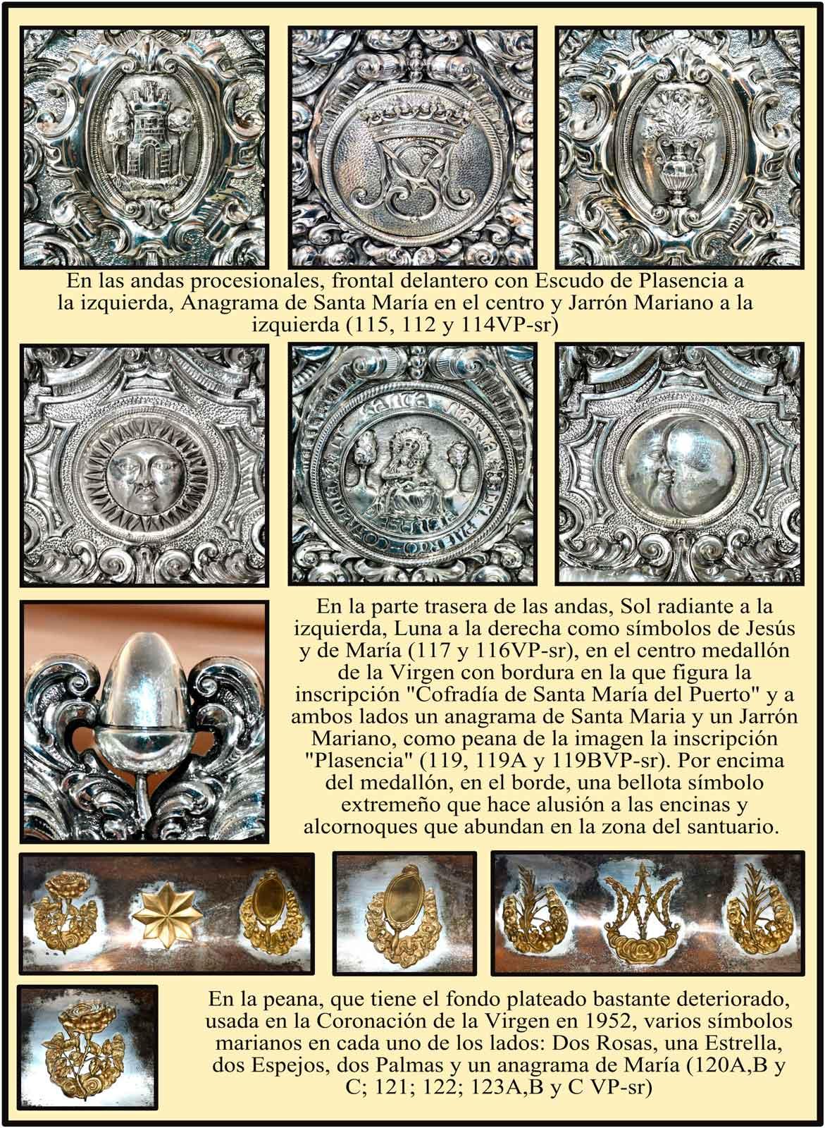 Heraldica en las andas procesionales del Virgen del Puerto