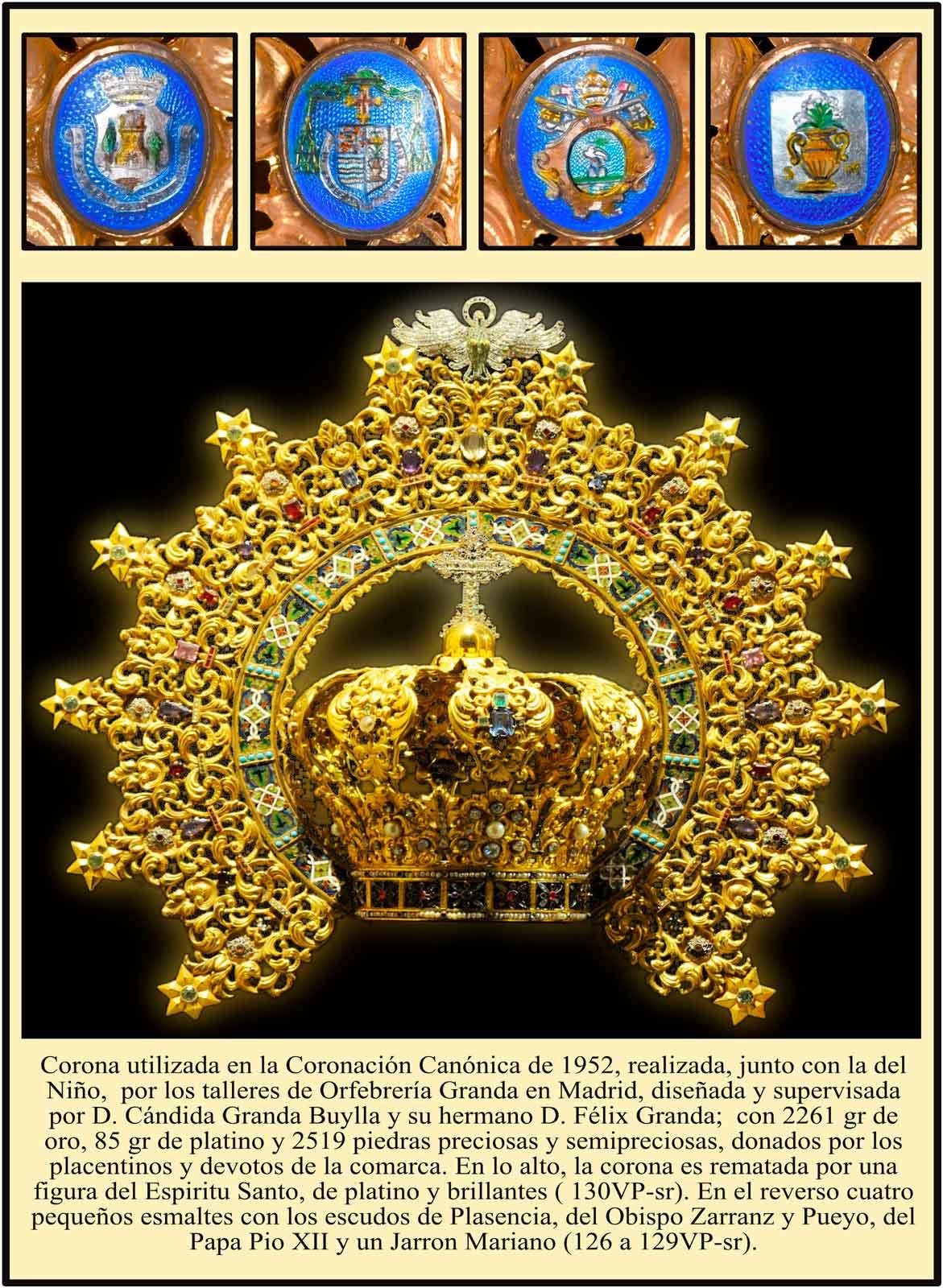 Corona de la Virgen del Puerto y heraldica en el reverso