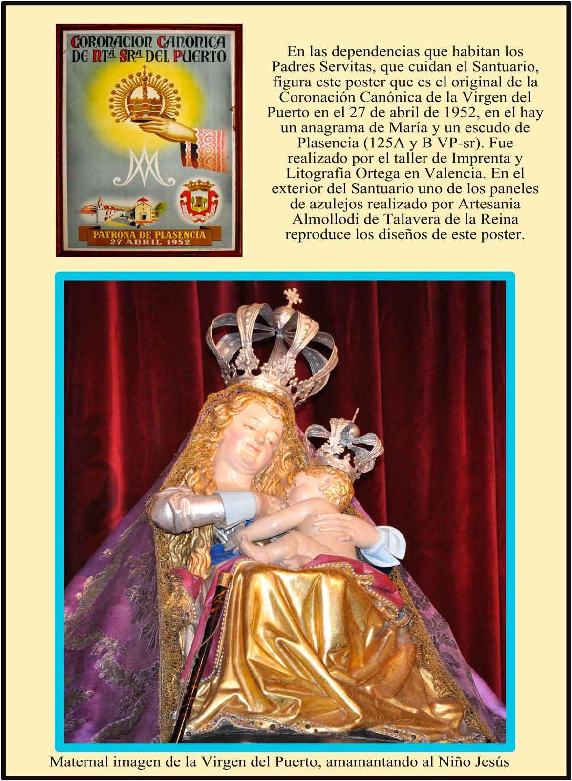 Imagen de la Virgen del Puerto. Poster de la Coronación en 1952